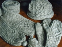 hat mittens and scarf with diamond shaped cables