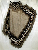 shawl with wavy stripes along edges